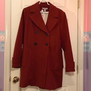 Rust Orange Long Pea Coat, H&M size 12